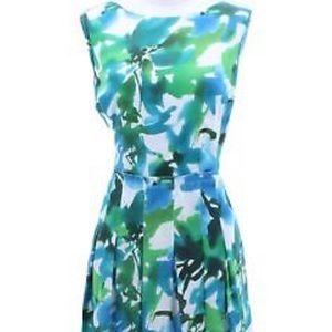 Jones New York Green Blue Floral Sundress